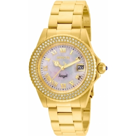 INVICTA MODEL 22875 ANGEL WOMENS QUARTZ 40MM GOLD CASE WHITE DIAL -