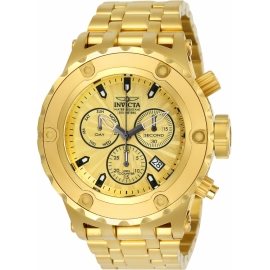 INVICTA MODEL 23920 SUBAQUA MENS QUARTZ 52MM GOLD CASE GOLD DIAL -