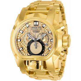 INVICTA MODEL 25210 RESERVE BOLT ZEUS MAGNUM MENS QUARTZ 52MM GOLD CASE GOLD DIAL -