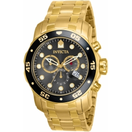 INVICTA MODEL 80064 PRO DIVER SCUBA QUARTZ MOVEMENT WATCH - GOLD CASE WITH GOLD TONE STAINLESS STEEL BAND -