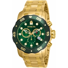 INVICTA MODEL 80072 PRO DIVER SCUBA SWISS MOVEMENT QUARTZ WATCH - GOLD, BLACK CASE WITH GOLD TONE STAINLESS STEEL BAND -