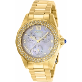 INVICTA MODEL 28438 ANGEL WOMENS QUARTZ 38MM GOLD CASE WHITE DIAL -