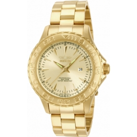 INVICTA MODEL 15467 PRO DIVER QUARTZ WATCH - GOLD CASE WITH GOLD TONE STAINLESS STEEL BAND -