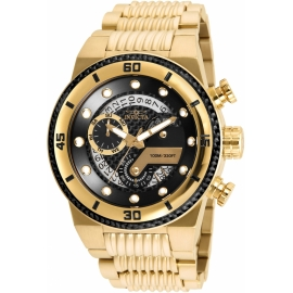 INVICTA S1MODEL 25282 RALLY MENS QUARTZ 51MM GOLD CASE BLACK DIAL -