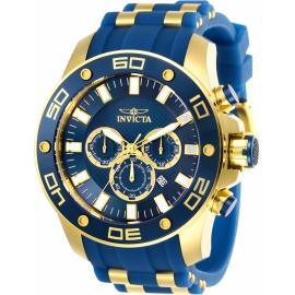 INVICTA PRO DIVER SCUBA MENS QUARTZ 50MM GOLD CASE BLUE DIAL - MODEL 26087