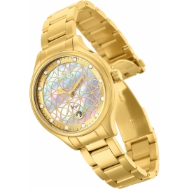 INVICTA ANGEL WOMENS QUARTZ 38 MM GOLD CASE WHITE DIAL - MODEL 27434