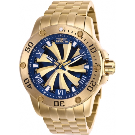 INVICTA SPEEDWAY MENS AUTOMATIC 49MM GOLD CASE GOLD, BLUE DIAL - MODEL 25851