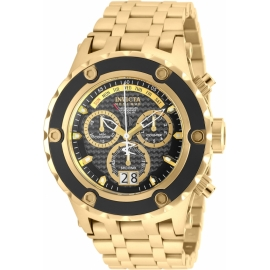 INVICTA MODEL 90112 SUBAQUA QUARTZ WATCH - GOLD, BLACK CASE WITH GOLD TONE STAINLESS STEEL BAND -