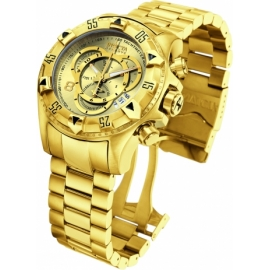 INVICTA EXCURSION QUARTZ WATCH - GOLD CASE WITH GOLD TONE STAINLESS STEEL BAND - MODEL 6471