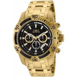 Invicta Pro Diver Mens Quartz 51mm Gold Case Black Dial - Model 24855