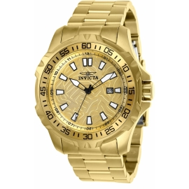 INVICTA PRO DIVER MENS QUARTZ 48MM GOLD CASE GOLD DIAL - MODEL 25786