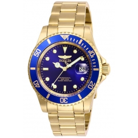 INVICTA PRO DIVER MENS QUARTZ 40 MM GOLD CASE BLUE DIAL - MODEL 26974