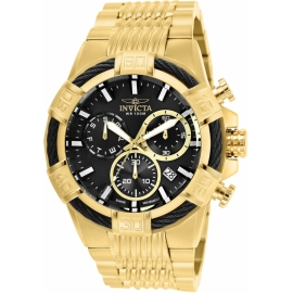 Invicta 25867 Bolt Mens Quartz 51mm Gold Case Black Dial , swiss Movement