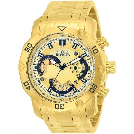 Invicta 22761 Pro Diver Mens Quartz 50mm Gold Case Black Dial