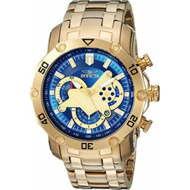 Invicta 22765 Pro Diver Mens Quartz 50mm Gold Case Black Dial