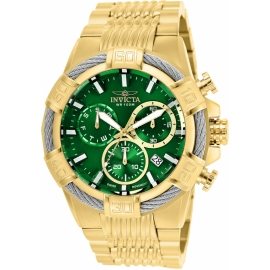 Invicta 25869 Bolt Mens Quartz 51mm Gold Case Green Dial Swiss Movement.