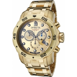 Invicta Pro Diver Swiss Movement Quartz Watch - Gold case with Gold tone Stainless Steel band - Model 0074