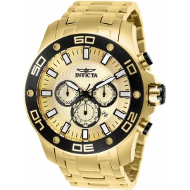 Invicta 26079 Pro Diver Mens Quartz 50mm Gold Case Gold Dial
