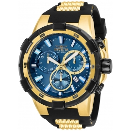 INVICTA AVIATOR MENS QUARTZ 51.5MM GOLD CASE BLUE DIAL - MODEL 25858