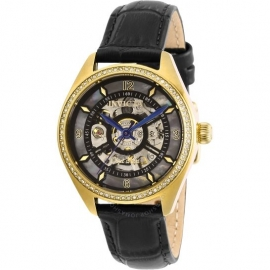INVICTA WOMEN'S 26353 OBJET D ART AUTOMATIC 3 HAND BLACK DIAL WATCH