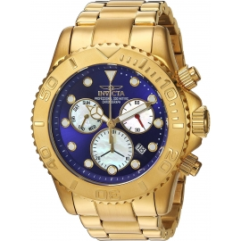 INVICTA PRO DIVER SWISS MOVEMENT QUARTZ WATCH - GOLD CASE WITH GOLD TONE STAINLESS STEEL BAND - MODEL 20349