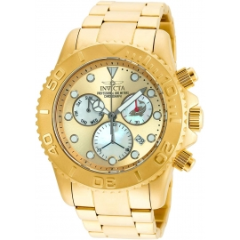INVICTA PRO DIVER SWISS MOVEMENT QUARTZ WATCH - GOLD CASE WITH GOLD TONE STAINLESS STEEL BAND - MODEL 20350