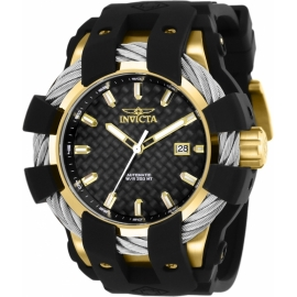 Invicta Bolt Mens Automatic 50mm Gold, Stainless Steel Case Black Dial - Model 25036