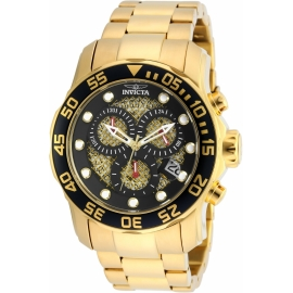 Invicta 19837 Pro Diver Quartz Watch - Gold case with Gold Tone