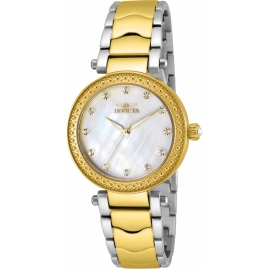INVICTA WILDFLOWER WOMENS QUARTZ 34MM GOLD CASE WHITE DIAL - MODEL 23965