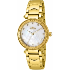 INVICTA WILDFLOWER WOMENS QUARTZ 34MM GOLD CASE WHITE DIAL - MODEL 23964