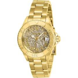 Invicta 26293 Ladies Angel Quartz 3 Hand Gold Dial, Swiss Movement.