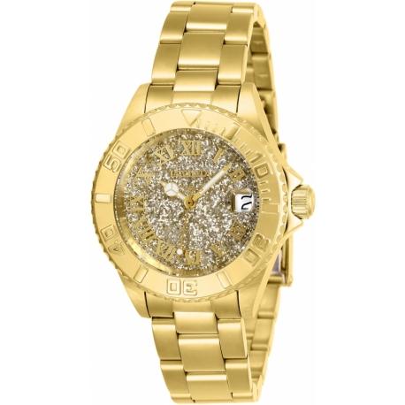 Invicta Women's 26293 Angel Quartz 3 Hand Gold Dial Watch