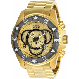 INVICTA EXCURSION MENS QUARTZ 52MM GOLD, TITANIUM CASE GOLD DIAL - MODEL 24266