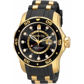 INVICTA PRO DIVER SWISS MOVEMENT QUARTZ WATCH - GOLD CASE WITH GOLD, BLACK TONE STAINLESS STEEL, POLYURETHANE BAND - MODEL 6991