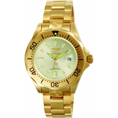 INVICTA PRO DIVER AUTOMATIC WATCH - GOLD CASE WITH GOLD TONE STAINLESS STEEL BAND - MODEL 3051