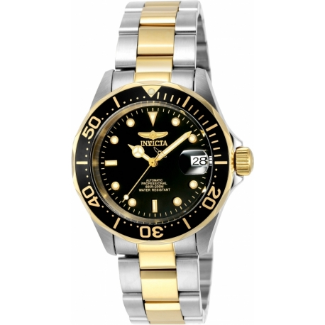 INVICTA PRO DIVER MEN'S AUTOMATIC 40MM GOLD, STAINLESS STEEL CASE BLACK DIAL - MODEL 8927