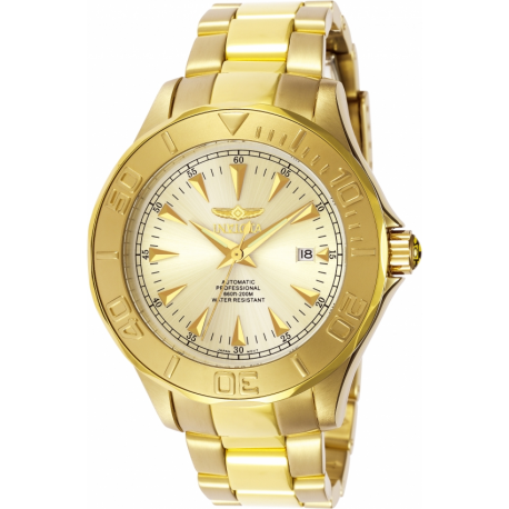 INVICTA SIGNATURE AUTOMATIC WATCH - GOLD CASE WITH GOLD TONE STAINLESS STEEL BAND - MODEL 7039
