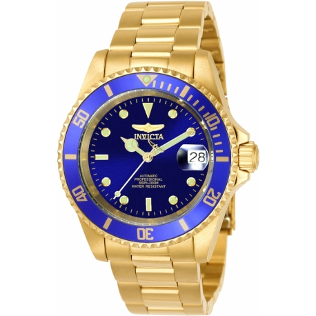 INVICTA PRO DIVER MEN'S AUTOMATIC 40MM GOLD CASE BLUE DIAL - MODEL 8930OB