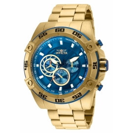 INVICTA 25536 SPEEDWAY MENS QUARTZ 52MM GOLD CASE BLUE DIAL