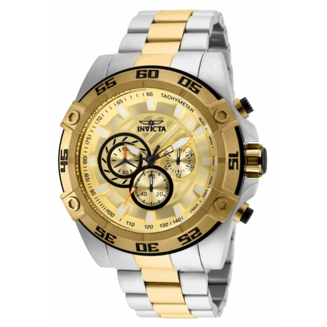 INVICTA SPEEDWAY MENS QUARTZ 52MM STAINLESS STEEL CASE GOLD DIAL - MODEL 25537