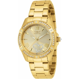 INVICTA ANGEL QUARTZ WATCH - GOLD CASE WITH GOLD TONE STAINLESS STEEL BAND - MODEL 21384