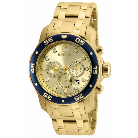 INVICTA PRO DIVER SWISS MOVEMENT QUARTZ WATCH - GOLD CASE WITH GOLD TONE STAINLESS STEEL BAND - MODEL 80068