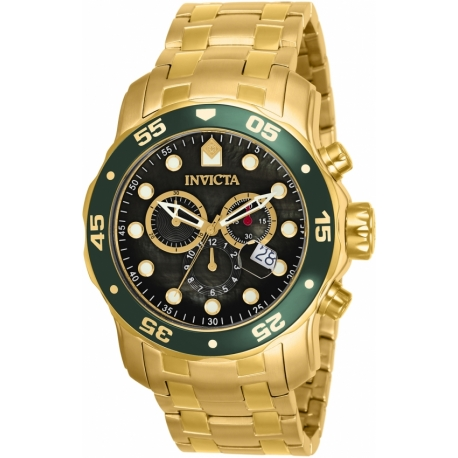 INVICTA PRO DIVER SWISS MOVEMENT QUARTZ WATCH - GOLD CASE WITH GOLD TONE STAINLESS STEEL BAND - MODEL 80074