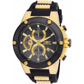 INVICTA 22401 SPEEDWAY MEN'S QUARTZ GOLD CASE, BLACK DIAL