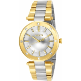 INVICTA ANGEL WOMEN'S QUARTZ 38MM GOLD CASE SILVER DIAL - MODEL 23725