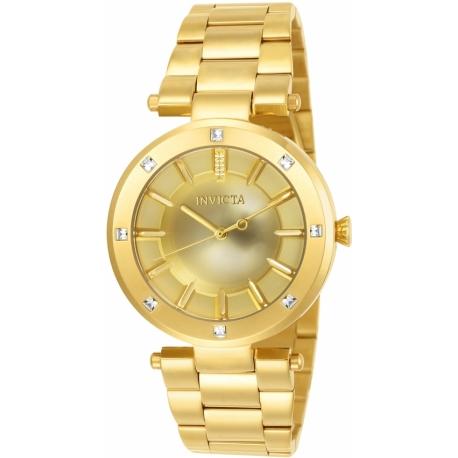 INVICTA ANGEL WOMEN'S QUARTZ 38MM GOLD CASE GOLD DIAL - MODEL 23728