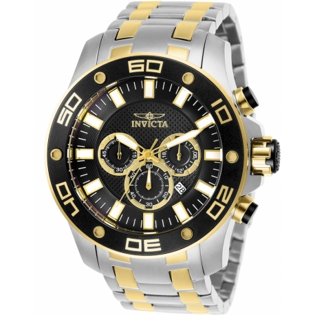INVICTA PRO DIVER MENS QUARTZ 50MM STAINLESS STEEL CASE BLACK DIAL - MODEL 26081