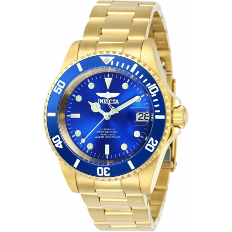 Invicta Pro Diver Mens Automatic 40mm Gold Case Blue Dial - Model 24763