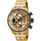 INVICTA AVIATOR QUARTZ WATCH - GOLD, BLACK CASE WITH GOLD TONE STAINLESS STEEL BAND - MODEL 17205