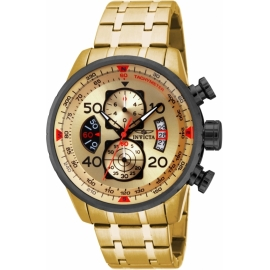 INVICTA 17205 AVIATOR QUARTZ WATCH - GOLD, BLACK CASE